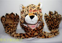 Wholesale 30 BBA5003 winter Unisex gifts Fashion animal hats paw gloves syncretic plush hats tiger Scarves Gloves Sets Animal hat scarf Paw gloves