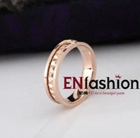 stainless steel rings - Fashion square spikes ring punk finger wedding couple rings K rose gold rings for women stainless steel ring jewelry