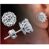 Wholesale 2015 Rushed Brazilian Virgin Hair Crystal Stud Earrings for Women men Fashion Jewelry Wedding Address Piercing Earring Unisex Earings Y048