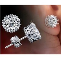 Wholesale 2016 Knot New Arrival Virgin Hair Crystal Stud Earrings for Women men Fashion Jewelry Wedding Address Piercing Earring Unisex Earings Y048