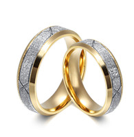 Wholesale 6mm K Gold Plated Couple Rings with Frosted Design L Stainless Steel Promise Rings for Men and Women