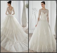 Cheap Wedding Dresses Ball Gown 2015 Beaded Lace Scoop Neckline Illusion Long Sleeves Demetrios Bridal Gowns Tiered Tulle Chapel Train 641 2016