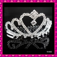 Crown Rhinestone/Crystal  In Stock Cheap Exquisite Real Sample Silver Rhinestone Crystals Shiny Bridal Tiaras Hair Headpieces Wedding Jewelries Accessories Hearwear