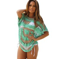 Wholesale 2016 fashion Sexy Bikini Crochet Cover Up Knit Floral Swimwear Beach Bathing Dress Beachwear top Hot