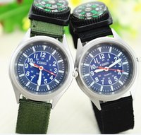 Wholesale Men s Sports Quartz Watch Compass Watches Military style watch Army Fabric Strap Outdoor Steel Dial sport Man watch compass watches