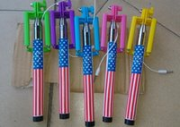 american flag poles - Foldable American flag Selfie Stick Extendable Handheld Monopod Plug and Play Cable Take Pole Wired Retail Package DHL Free