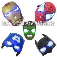 Wholesale 80pcs super heroes Movie Model Blue LED Light Eyes Mask Captain America Hulk Batman Spider man Iron Man PVC Action Figures toys T60