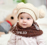Wholesale Winner Hats Kids Knitting Solid Cute Hats Baby Girls Boys Wool Hedging Hat Toddler Thickened Winter Hats