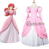 Wholesale Custom Made The Little Mermaid Princess Ariel Pink pretty party Dress Movie Cosplay Costume For Party And Event factory direct sale
