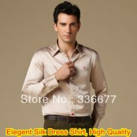 Cheap Wholesale-Free Shipping Mens Branded Fashion Elegant Light Coffee Silk Satin Dress Shirt Satin Spoke Shirt QR-4944