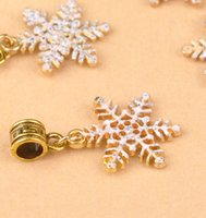 Wholesale 50pcs Gold Christmas Snowflake Crystal Rhinestone Charms Pendant Beaded Jewelry Findings