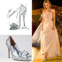 Nueva llegada de los altos talones de Cenicienta Crystal zapatos de la boda de tacón fino Rhinestone Plataforma mariposa Cenicienta Crystal Shoes