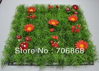 algae red - Artificial plastic grass mat boxwood mat with red daisy flower mushroom and ladybug