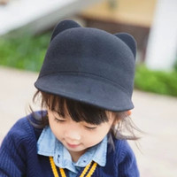 Wholesale 2015 Autumn Winter Hats for Child Wool Fedoras Lovely Kitty Cat Ear Derby Bowler Cap Christmas Kids Cotton hat Box packing