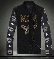 baseball jackets - Men Korean hip hop style jacket MCM jacket Printing Embroidery designer brand Baseball Baseball Stand colla man coat black white M XXXL