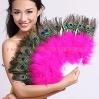 Wholesale Peacock Feather Fan Vintage Party Costume dance wedding favor home decorations Folding Feather Fan Halloween Stage Performances Craft