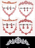 Wholesale Crystal diamond bride hair headwear frontal decorated crown deserve to act the role of three piece necklace suit wedding jewelry