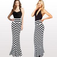 Wholesale Summer Women Sexy Vestidos Elegant High Waist Long Dress Striped Beach Maxi Party Dresses Plus Size Women Clothing