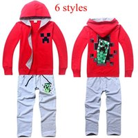 Cheap Minecraft Clothing Set Boys Jackets Suits Two piece Sets(Hoodie+Pants) Kids Outfit Boys Cartoon Long Sleeve Tracksuits Casual suit
