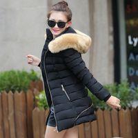2015 hiver Mode Collier en fourrure manteaux chauds Femme Long manteaux Hoodies Coton Parkas Veste Femmes Vêtements d'hiver