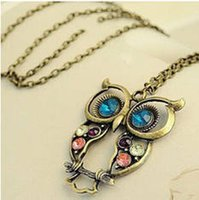 Wholesale owl necklaces retro necklaces diamante necklaces bronze antique silver necklaces bead necklaces long necklacces for women