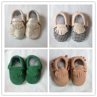 elastic crochet - 2015 New Baby Kids Suede Baby Moccasins Soft Moccs Baby Shoes Chaussure Bebe Infant Firstwalkers Anti Slip Baby Footwear
