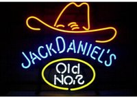 Wholesale HOT SALE JACK DANIELS HAT OLD WHISKEY REAL GLASS NEON SIGN HANDCRAFTED CUSTOM BEER BAR PUB NEON SIGNS quot X14 quot