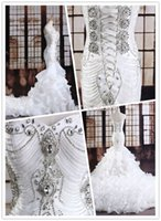 Wholesale Luxruy Mermaid Trumpet Crystal Beaded vestido de noiva White Ivory Organza Wedding dress Bridal Gown Custom Made Dresses