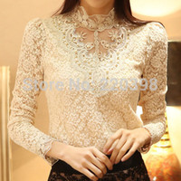 beige blouse - New Spring High quality Women Crochet Blouse Lace Sheer Shirs Tops For Women Clothing Vestidos Blusas Femininas Blouses