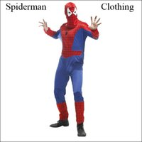 Wholesale 2015 Popular Halloween Costumes For Men Spiderman Clothing Spider Man Cosplay Suit For Adult Men Women With Dress Style For Women