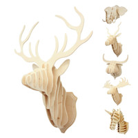 Wholesale New Arrival Home Decoration Wood Crafts Gift D Wood Puzzle Wooden DIY Model Wall Hanging Animal Wildlife Head Sculpture