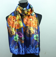 Wholesale 1pcs Gold Flower Royal Blue Purple Women s Fashion Satin Oil Painting Long Wrap Shawl Beach Silk Scarf X50cm