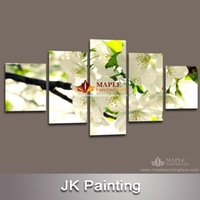best white spray paint - Panel Modern Wall White Flower Painting Canvas Art for housing Decoration best unframed scenery painting flower canvas paint