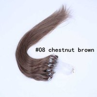Cheap High Quality Brazilian Loop   Micro Ring Hair Extension Brazilian Human Hair Extensions Human Hair Chestnut Brown Color In Stock