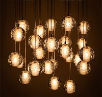 Wholesale LED Pendant Lamps Meteor Rain Ceiling Light Cheap G4 Crystal Glass Halogen Meteoric Shower Stair Light Chandelier Lighting V V bl