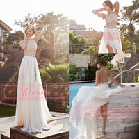 Reference Images flowing prom gowns - 2015 In Stock Cheap High Quality A line Prom Dresses Summer Beach Bridal Gowns Halter Slit Backless Flow Chiffon Evening Gowns BO5557