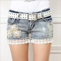 Cheap New 2015 Women Shorts Femininos Fashion Lady's Denim Lace Shorts Jeans Ripped Hole Vintage Hot YS8048