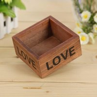 Wholesale 2016 retro wooden storage box do old Square Flowerpots fleshy Containers Wooden home decor free ship