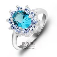 Wholesale Fashion women green topaz stone rings punk red blue crystal diamond sterling silver plated gemestone wedding ring jewelry SR0697