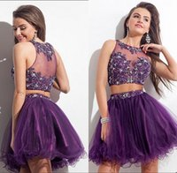 Wholesale 2015 Purple Short Rachel Allan Cocktail Party Dress Sheer Crew Appliques Beaded Custom A Line Tulle Elegant Two Piece Prom Dresses