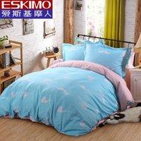 Cheap ESKIMO Kids Bed Sheet Sets 4PC 100% Cotton Bedlinen Bedspreads Queen Size