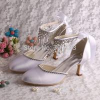 nude pumps - Colors Women Wedding Heels White Satin Bride Pumps with Rhinestone Strap