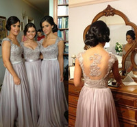 sequin appliques - 2015 Best selling Bridesmaid Prom dresses chiffon A line lace appliques see through tulle back sequins evening gowns cap sleeves BO2673