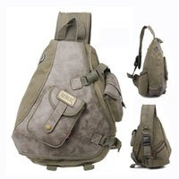Wholesale Multi pockets canvas and leather men sling bag backpack Cool mens bags