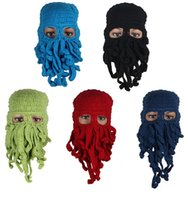 active children gifts - Novelty Cool Handmade Knitting Wool Funny Animal Cuttlefish Beard Octopus Hats caps Crochet Tentacle Beanies for children hat Men Women Gift