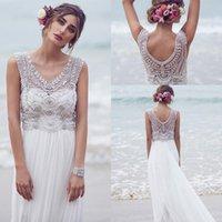 Cheap 2015 Bohemian Custom Made Anna Campbell Wedding Dresses Beading Crystals Sleeveless Chiffon Beach Floor Length Boho Bridal Gowns