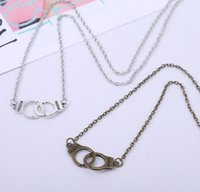 South American antique handcuffs - 2015 Hot handcuffs choker pendant necklaces fashion brand design antique silver bronze handcuff pendant necklace hip hop jewelry for womens