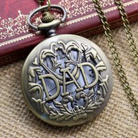 mens pocket watches - Fathers Day Hollow DAD Bronze Retro Quartz Pocket Watch Necklace Pendant Chain Mens Watch P001