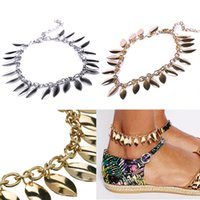 barefoot sandals foot jewelry pattern - Leaf Patterns Pendant Tassels Chain Anklet Foot Jewelry Barefoot Sandal Beach HITM
