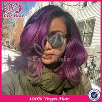 bank grade - 7A Grade b purple Ombre Glueless Full Lace Human Hair Wigs Peruvian Natural Wave Ombre Lace Front Wig For Black Women With Baby Hair